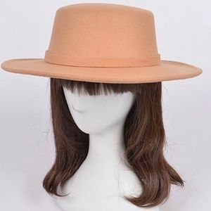 New tan flappy fedora hat